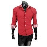 GUDANG FASHION Male Formal Shirts Size M [LNG 1326-M] - Merah - Kemeja Lengan Panjang Pria