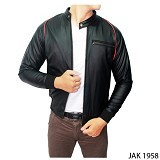 GUDANG FASHION Male Semi Leather Jacket [JAK 1958-A] - Black - Jaket Outdoor Pria