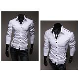 GUDANG FASHION Male Slimfit Long Sleeve Korean Style Shirt Size L [LNG 1059-L] - Putih - Kemeja Lengan Panjang Pria