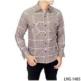 GUDANG FASHION Mens Long Sleeve Flannel Shirts [LNG 1485-A] - Cream - Kemeja Lengan Panjang Pria