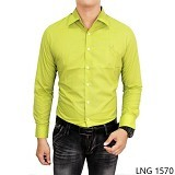 GUDANG FASHION Mens Slim Fit Formal Shirts Size M [LNG 1570-M] - Green Stabillo - Kemeja Lengan Panjang Pria