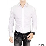 GUDANG FASHION Mens Slim Fit Long Sleeve Shirts Size XL [LNG 1574-XL] - White - Kemeja Lengan Panjang Pria