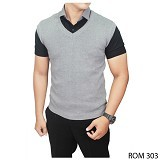 GUDANG FASHION Rompi Rajut Pria [ROM 303-A] - Light Grey