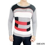 GUDANG FASHION Sweater Fashion Mens [SWE 670-A] - Grey Combination