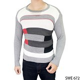 GUDANG FASHION Sweater Pria Model Terbaru [SWE 672-A] - Grey Combination - Sweater / Cardigan Pria