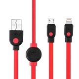 HIPPO Caby Dual Micro USB Lightning 200CM - Red - Cable / Connector Usb
