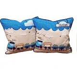HOBIHOUSE Cushion ChoCho Train - Blue - Bantal Dekorasi