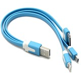IKAWAI Cable 3in1 Flat - Blue - Cable / Connector Usb