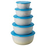 IKEA Reda Food Container Set Of 5 [501.612.55] - Round Transparent White Blue - Wadah Makanan