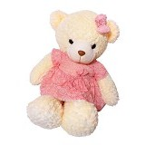 ISTANA KADO ONLINE Boneka Beruang Teddy Bear Dress Peach - Boneka Binatang