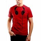 JACKDOW Kaos Distro Lucu Keren Headset Size M [T0117] - Red - Kaos Pria