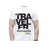 JERSICLOTHING T-Shirt National Geographic Traveler Photographer Size S - White - Kaos Pria