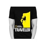 JERSICLOTHING T-Shirt National Geographic Traveler Size L - Black - Kaos Pria