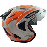 JPX Supreme Eagle Pearl Size L - White Orange (Merchant) - Helm Motor Half Face