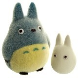 KADOUNIK Studio Ghibli My Neighbor Medium Totoro & Small Totoro Flocking Doll [186-589548] - Boneka Kain