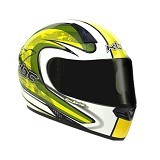 KBC Helm Full Face V Zero Size XL - White Yellow - Helm Motor Full Face