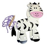 KIDZNTOYS Papan Jahit 3D Zebra - Wooden Toy