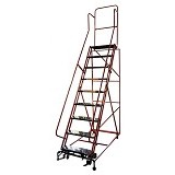 KRISBOW Ladder Rolling 2.3 Meter 9 Step Steel [KW0102920] - Red - Tangga