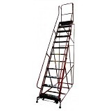 KRISBOW Ladder Rolling 3.1 Meter 12 Step Steel KW0102591 - Red