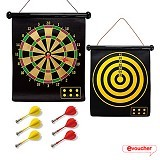 LACARLA Double Sided Hanging Magnetic Dart Board Set Game 17 Inch with 6 Magnetic Arrow (Merchant) - Mainan Tembakan / Dart