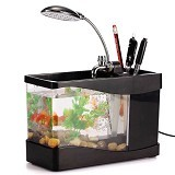 LACARLA Usb Desktop Aquarium Mini Fish Tank with Running Water - Mini Black - Akuarium & Wadah Ikan