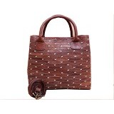 LIBERA_INDOO Webe Medium Perca Jahit Silang Nabati - Dark Brown (Merchant) - Shoulder Bag Wanita