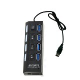 LONG CELL USB HUB Hi-Speed USB 2.0 4 Ports - Black - Cable / Connector Usb