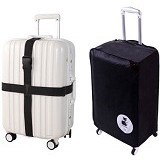 "LTISHOP Luggage Cover 20"" + Belt - Black - Cover Bag / Pelindung Tas"