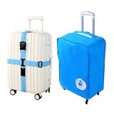 "LTISHOP Luggage Cover 20"" + Belt - Blue - Cover Bag / Pelindung Tas"