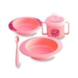 LUSTY BUNNY Feeding Set 5in1 - Pink - Perlengkapan Makan dan Minum Bayi