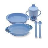 LUSTY BUNNY Feeding Set 6in1 - Blue - Perlengkapan Makan dan Minum Bayi