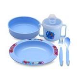 LUSTY BUNNY Plate Set - Blue - Perlengkapan Makan dan Minum Bayi