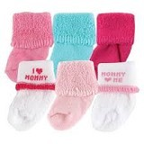 LUVABLE FRIENDS Baby Newborn Socks Girl Mommy Size 0-3M - Kaos Kaki Bayi dan Anak