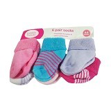 LUVABLE FRIENDS Baby Newborn Socks Girl Salur Size 0-6M - Kaos Kaki Bayi dan Anak