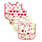 LUVABLE FRIENDS Easy Clean Baby Bib Girl 4Pcs - Celemek Bayi / Bib