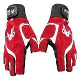 MAESTRO Half Finger Gloves - Red White - Sarung Tangan Motor