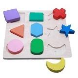 MAINAN KAYU EDUKATIF Puzzle 9 Bentuk Timbul - Wooden Toy
