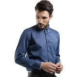 MANLY Regular Fit Striped Shirt With Combination Size 15 [Kurnell15] - Blue - Kemeja Lengan Panjang Pria