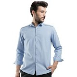 MANLY Slim Fit Plain Shirt With Combination Size 16 [Spenard16] - Light Blue - Kemeja Lengan Panjang Pria