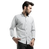 MANLY Slim Fit Striped Shirt With Combination Size 15 - White - Kemeja Lengan Panjang Pria