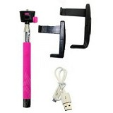 MONOPOD Tongsis Wireless Monopod Mobile Phone With L Holder [Z07-5] - Pink - Gadget Monopod / Tongsis