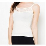 NATHALIE Helanca Lace Camisol Size L [NTA 469] - White - Camisole And Tanks Top