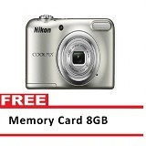 NIKON Digital Camera Coolpix A10 - Silver + Memory Card 8 GB (Merchant) - Camera Pocket / Point and Shot