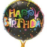 NNPARTYDREAMS Balon Foil Happy Birthday Bulat - Black (Merchant) - Balon