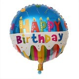 NNPARTYDREAMS Balon Foil Happy Birthday Bulat - Blue (Merchant) - Balon