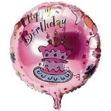 NNPARTYDREAMS Balon Foil Happy Birthday Bulat - Pink (Merchant) - Balon