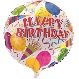 NNPARTYDREAMS Balon Foil Happy Birthday Bulat - White (Merchant) - Balon