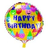 NNPARTYDREAMS Balon Foil Happy Birthday Bulat - Yellow 1 (Merchant) - Balon
