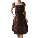 NOCHI SHOP Gaun Pesta Satin Modif Bordir All Size [D1316] - Dark Brown - Midi Dress Wanita