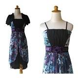 NOCHI SHOP Gaun Pesta Sweet Dress Semi Gown All Size [D1334] - Blue - Midi Dress Wanita